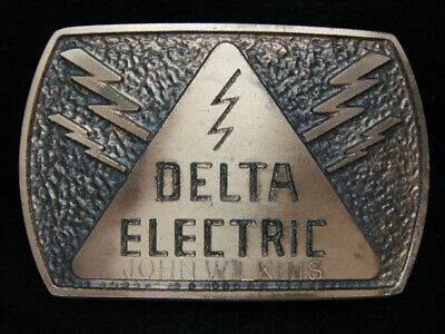 OC13134 VINTAGE 1970s **DELTA ELECTRIC** COMPANY SOLID BRONZE BELT BUCKLE