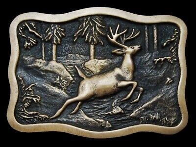 LF07130 VINTAGE 1970s **DEER JUMPING OVER FOREST STREAM** SOLID BRASS BUCKLE