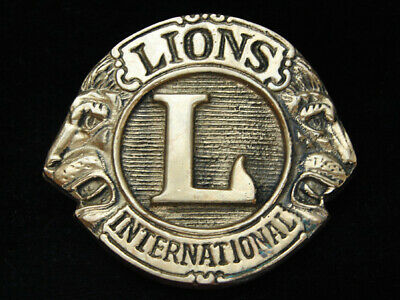 OD07131 VINTAGE 1970s **LIONS INTERNATIONAL** SOLID BRASS AMINCO BELT BUCKLE