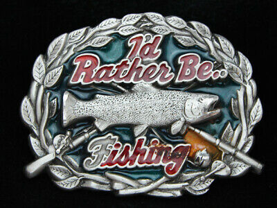 OA21152 VINTAGE 1980s **I'D RATHER BE FISHING** PEWTER GREAT AMERICAN BUCKLE