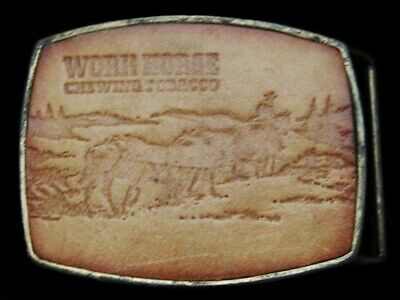 LC19173 VINTAGE 1970s*** WORKHORSE CHEWING TOBACCO*** LEATHER BELT BUCKLE