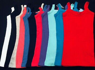 New Womens Plain Stretchy Ladies Ribbed Vest Top T Shirt Rib Strap Sizes 8-14