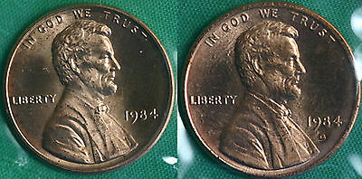 1984 P and D Lincoln Cent 2-Coin from US Mint Set UNC Cello One Cent Penny Set