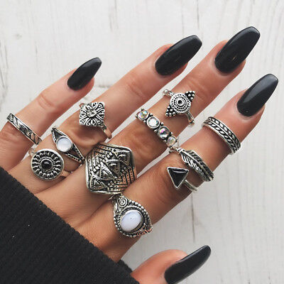 Women Female Retro Vintage Tribal Ethnic Hippie Joint Punk Knuckle Ring Set LD