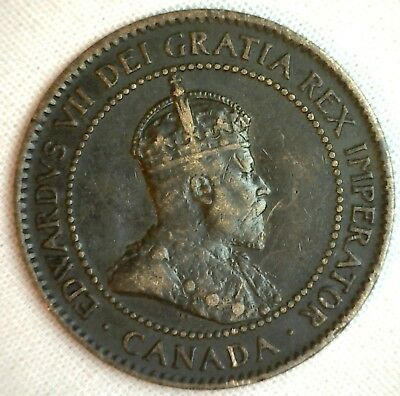 1903 Copper Canadian Large Cent Coin 1-Cent Canada VF #1