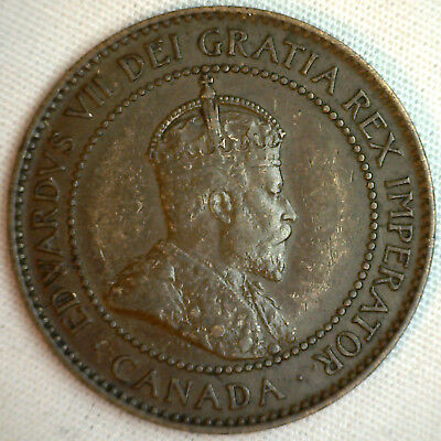 1903 Copper Canadian Large Cent Coin 1-Cent Canada XF #9