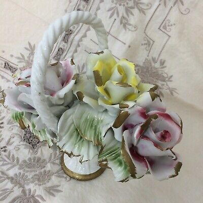 Large Nuova Capodimonte Italy, hand painted porcelain basket of roses, 1950's