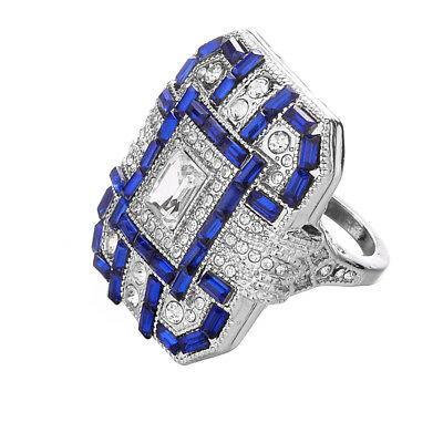 Retro Style Large Crystal Square Synthetic Sapphire Ring Women Finger Jewelry LD