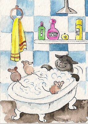 Print Of Watercolor Painting Aceo Folk Art Ryta Black Cat Mouse Bath Art Kitten