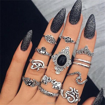 13pcs/set Retro Flower Women's Boho Finger Ring Set Stack Above Knuckle Jewelry