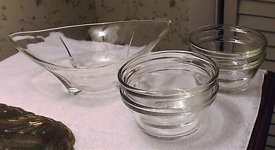 Clear Glass banana split boat and 4 custard dessert cups bowls dishes lot