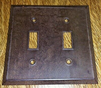 Vintage Mid Century Marbled BAKELITE Ribbed Double Wall Light Switch Plate Cover