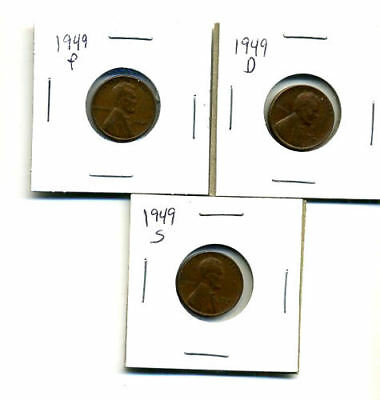 1949 P,d,s Wheat Pennies Lincoln Cents Circulated 2X2 Flips 3 Coin Pds Set#167