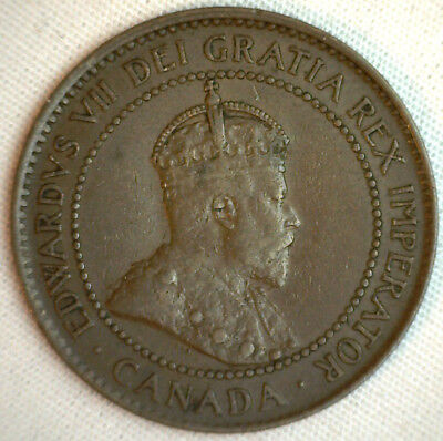 1903 Copper Canadian Large Cent Coin 1-Cent Canada XF #14