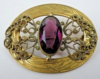 Antique Victorian Gold Filigree Engraved Cattails Purple Stone Buckle Brooch