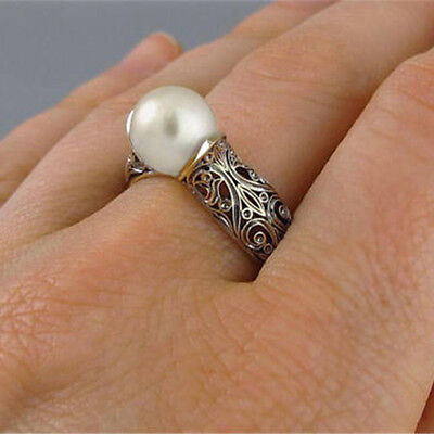 Women Girl Vintage Retro Wrap Imitation Pearl Wedding Ring Gift Jewelry LD