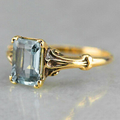 Blue Jewelry Square Crystal Charm Ring For Women Slim Simple Retro Jewelry LD