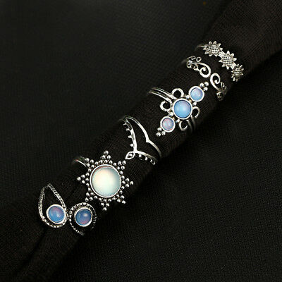 Bohemian Retro Vintage Stone Knuckle Ring Set Opal Flower Knuckle Rings LD