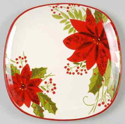 Gibson Designs POINSETTIA HOLLY BERRY Salad Plate 8924210