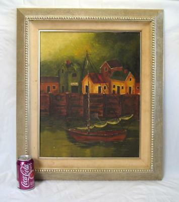 Vintage Original Impressionist Sea Harbor Sailboat Oil on Canvas Mystery Artist