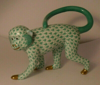 HEREND LONG TAIL WALKING MONKEY GREEN FISHNET FIGURINE 15391 HANDPAINTED mint**
