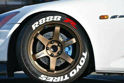 """Toyo tires R888 permanent Tire Stickers 14""""-22"""" Tyre Lettering Decal 25-31-38mm"""