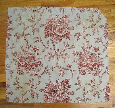 Antique Beautiful 19th C. French Engraved Cotton Floral Toile (9994)
