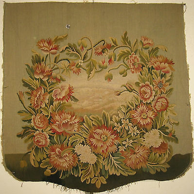 Antique Beautiful  19th C. French Silk & Wool Handwoven Aubusson Textile (9070)