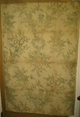 Antique Beautiful 19th C. French Neoclassic Toile Linen Print Fabric (9314)