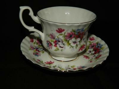 Royal Albert Pink Purple Flower Bouquet Gold Accent Cup & Saucer UK Free Ship