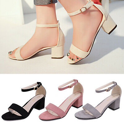 Womens Sandals Low Mid Heel Block Peep Toe Ladies Ankle Strap Strappy Sandals UK