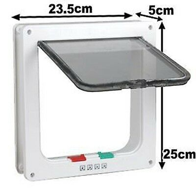 New 4 Way Lockable Locking Pet / Cat / Small Dog Flap Door in White Size Large