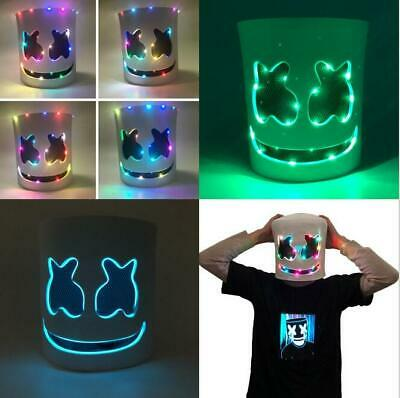 LED Mask Marshmello Helmet Cosplay Costume Halloween Party Props Bar DJ Mask TOP