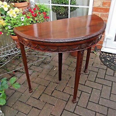 Superbly Restored Late 19Th Century Mahogany Demi-Lune Card~Games~Console Table