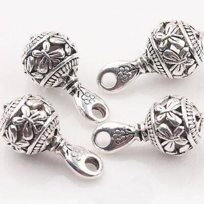 10/20Pcs Tibetan Silver Carved Butterfly Charm Round Pendant Jewelry DIY 20*10mm