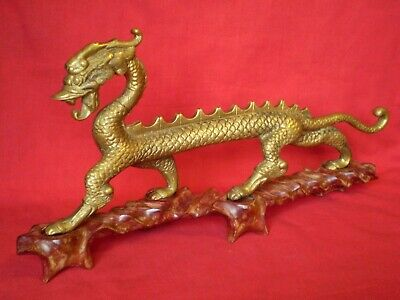Stunning Vintage Good Sized Brass Chinese Dragon On Wooden Base