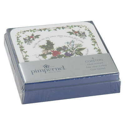 Portmeirion THE HOLLY & THE IVY Set Of 6 Square Corkback Coasters 9883906
