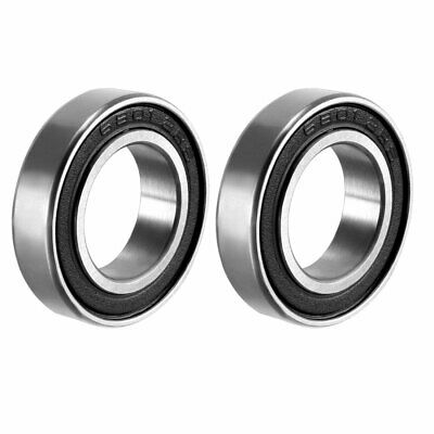 Deep Groove Ball Bearing 6801-2RS Double Sealed 12mmx21mmx5mm Carbon Steel 2Pcs