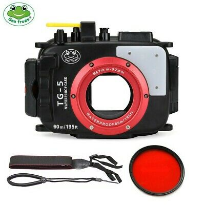 SeaFrogs 60m/195ft Underwater Camera Housing Case For Olympus TG5 w/ Red Filter