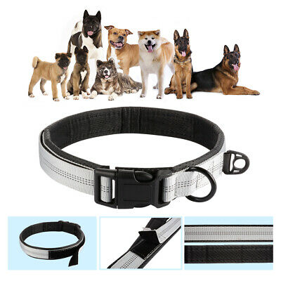 Adjustable Dog Collar with Heavy Duty Quality D-ring Buckle for Dogs Grey PS377