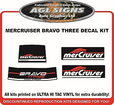 Mercury Bravo Three Reproduction Outdrive Decal Kit   Mercruiser TWIN PROP