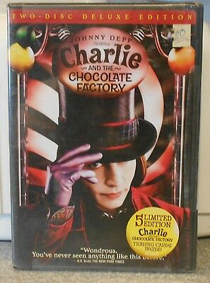 Charlie and the Chocolate Factory (DVD 2005 2-Disc Deluxe) RARE NEW W 5 CARDS