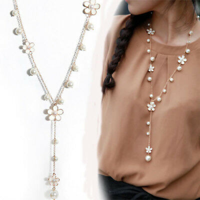 Women's Elegant Pearl White Flower Pendant Sweater Long Chain Necklace