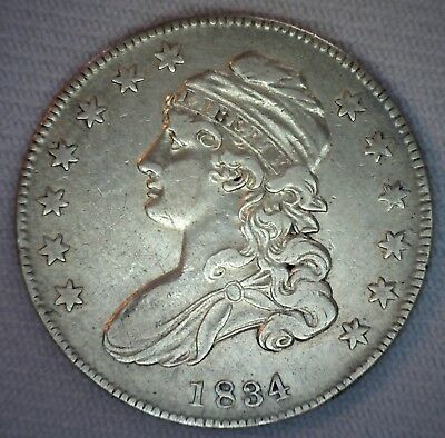 1834 Early Capped Bust Silver Half Dollar XF 50c US Type Coin Extra Fine #B