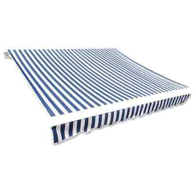 vidaXL Awning Top Sunshade Canvas Blue & White 350x250cm Exterior Solar Shade