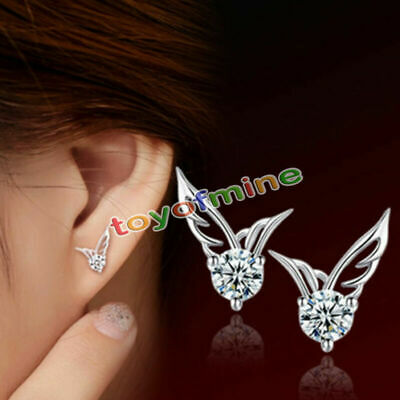 925 Sterling Silver Austria Earrings Crystal Angel wing ear stud Christmas gift