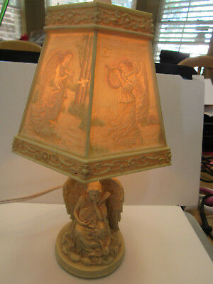 Vintage Plastic Angel Lamp With Matching Plastic Shade (Cat.#1A056)