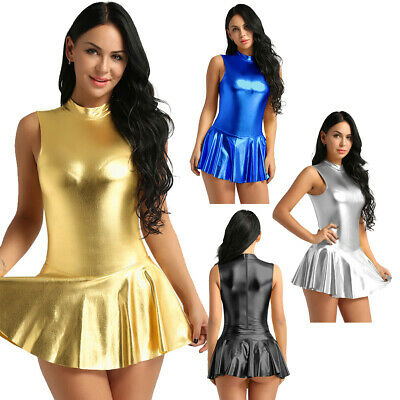 Damen Metallic Bodysuit Wetlook Dessous Minikleid Jumpsuit Overall Party Kleid
