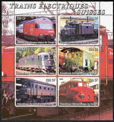 Swiss Electrical Trains on Stamps - 6 Stamp Sheet 112-03