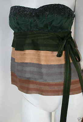 authentic Missoni green gold gray brown beaded straless AchilleaTop  44 or 8 new